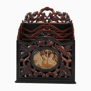 Dutch Victorian Black Lacquered Walnut Magazine Holder, 1870s