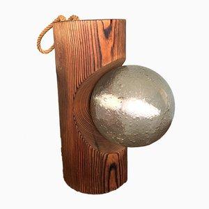 Lámpara de pared o mesa de madera de pino de Temde Leuchten, años 70