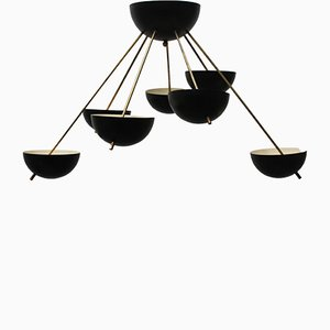 Mid-Century Italian Black & Gold Sputnik Chandelier from Stilnovo, 1960s