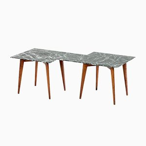 Geometric Verde Alpi Marble Coffee Table by Gio Ponti, 1940s