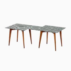 Tavolino da caffè Verde Alpi geometrico in marmo di Gio Ponti, anni '40