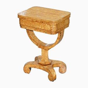 Tavolo da gioco Biedermeier antico in legno di seta