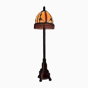 Mahagoni Art Deco Amsterdamer Schule Stehlampe, 1920er
