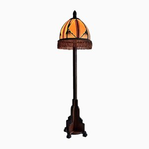 Mahogany Art Deco Amsterdam School Floor Lamp, 1920s