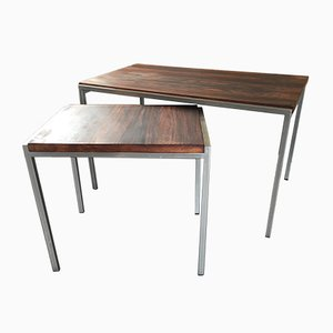 Mid-Century Rosewood and Steel Side Tables from Pastoe, Set of 2