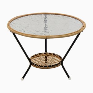 Wicker and Glass Coffee Table from Rohé Noordwolde, 1950s