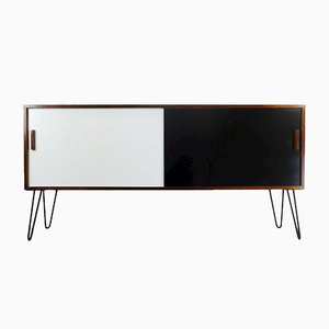 Rosewood Sideboard with White and Black Sliding Doors, 1960s