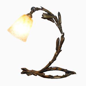 Tischlampe aus massiver Bronze von Charles Schneider, 1920