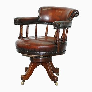 Antique Victorian Walnut Hand-Dyed Brown Leather Captain's Office Chair