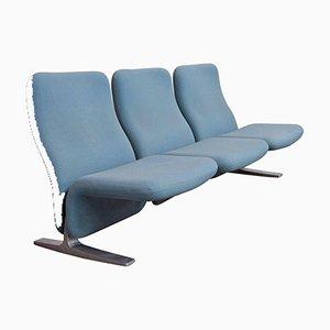 F784 Concorde 3-Sitzer Sofa mit hellblauem Stoffbezug von Pierre Paulin für Artifort, 1966