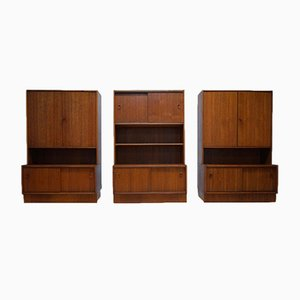 Mid-Century Dutch Teak Veneer Bookcases from JEHA, 1968, Set of 3