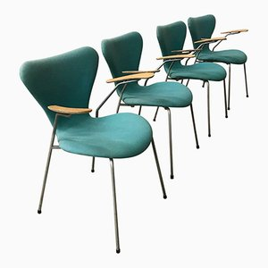 Turquoise Upholstered Model 3207 Butterfly Chairs by Arne Jacobsen, 1950s, Set of 4