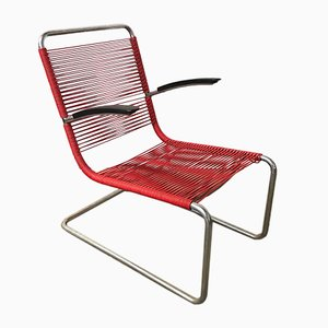Model 411 Red Plastic & Tubular Steel Armchair from Gispen, 1930s