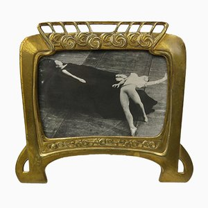 Antique Art Nouveau French Brass Picture Frame