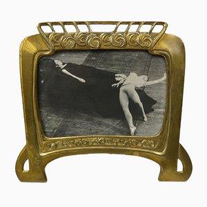 Marco para fotografías francés modernista antiguo de latón