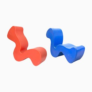 Orange and Blue Phantom Chairs by Verner Panton, 1998, Set of 2