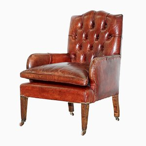 Small Antique Victorian Chesterfield Lounge Chair