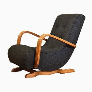 Rocking Chair Art Déco en Chêne et Laine de Seng, 1930s