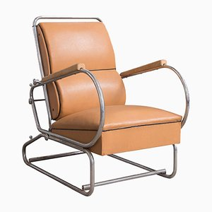Adjustable Tubular Steel & Leather Easy Chair, 1930s