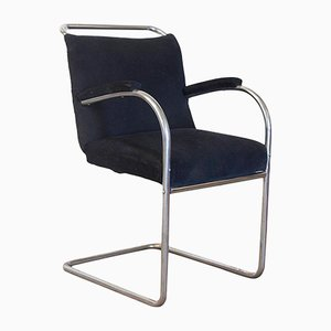 Vintage Tubular Side Chair with Black Manchester Fabric, 1930s