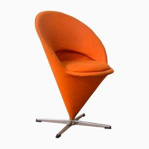 Kegelförmiger Sessel mit orangenem Leinenbezug von Verner Panton für Rosenthal, 1958