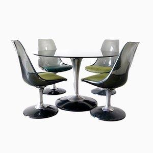 Tavolo da pranzo rotondo vintage in vetro fumé e quattro sedie di Chromecraft, anni '70, set di 5