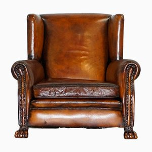Victorian Brown Leather Wingback Chair, 1860s