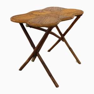 Dutch Bamboo Side Table with Star Inlay, 1950s