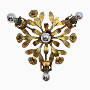 Hollywood Regency Gilt Floral Flush Mount by Hans Kögl, 1970s