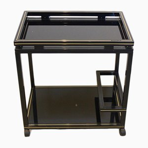 French Black & Gold Bar Cart by Pierre Vandel, 1970s