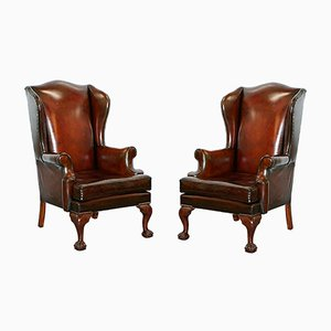 Cigar Brown Leather Claw & Wingback Armchairs, 1930s, Set of 2