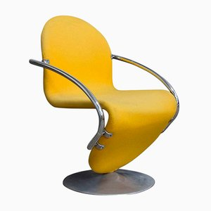 1-2-3 Series Easy Chair in Yellow Fabric by Verner Panton, 1973