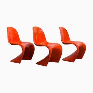 Orangefarbene Stapelstühle von Verner Panton für Herman Miller, 1965, 3er Set