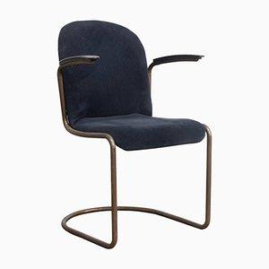 Chaise d'Appoint 413R Vintage en Cuivre et Velours Côtelé Bleu par Willem H. Gispen