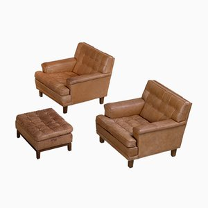 Merkur Buffalo Leather Seating Set with 2 Club Chairs & Ottoman by Arne Norell, 1960s, Set of 3