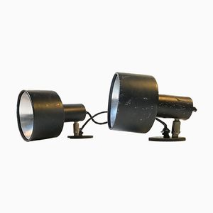 Vintage Danish Black Industrial Wall Lamps from Louis Poulsen, 1970s, Set of 2