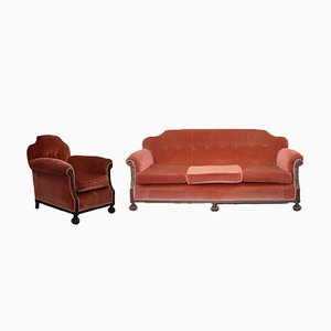 Antique Victorian Armchairs and Sofa Set