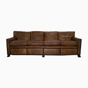 Vintage Brown Leather 4-Seat Sofa