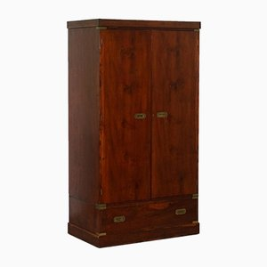 Mahogany & Brass Wardrobe from Harrod's London, 1940s