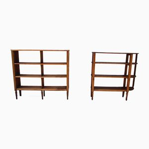 Walnut Open Libraries, 1930s, Set of 2