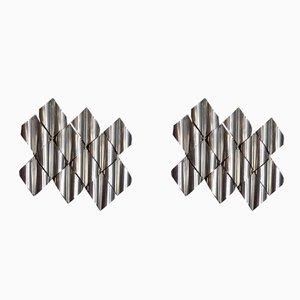 Applique Mid-Century in acciaio di Goffredo Reggiani per Zeroquattro, anni '60, set di 2