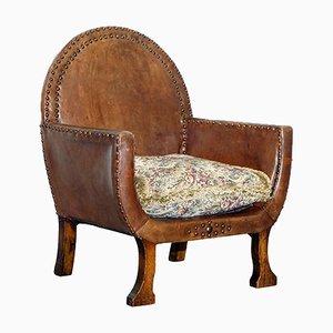 Petite Chaise d'Enfant Édouardienne en Chêne et Cuir
