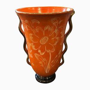 Jarrón italiano Mid-Century de cerámica naranja, años 50