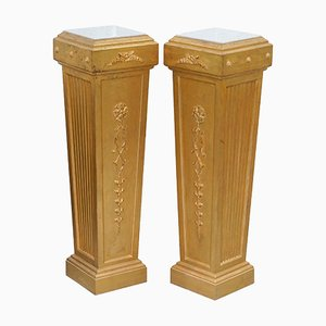 French 19th-Century Louis XVI Giltwood Carrara Marble Pedestal Columns, Set of 2