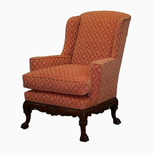 Antique 19th-Century Chippendale Style Wingback Armchair