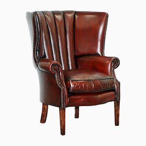 Oxblood Bordeaux Leather Porters Wingback Chesterfield Armchair, 1920s