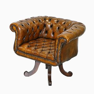 Victorian Brown Leather Chesterfield Armchair