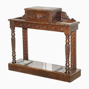 Antique English Carved Solid Oak Umbrella Stand