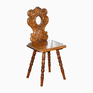 Antique Italian Hand-Carved Oak Hall Chair with Ornate Floral Cresting Back Rest