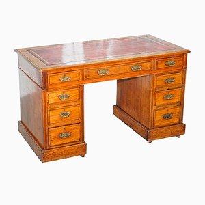 Victorian Walnut & Leather Desk with Porcelain Castors